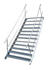 Stahltreppe 12 Stufen-Breite 80cm Variable-Höhe 180-240cm beidseit. Geländer