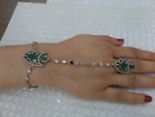 925 SILVER HANDMADE TURKISH JEWELRY GREEN EMERALD BRACELET & LADIES RING
