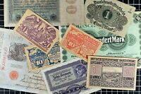 German Notgeld Mixed Lot of 9 Notes hyperinflation Depression Money Currency
