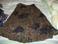 DANA BUCHMAN PETITES WOMANS SHEER SKIRT BROWN,GREEN,REALLY DARK BLUE FLORAL