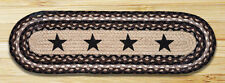 """BLACK STARS 100% Natural Braided Jute Rug, 27"""" x 8.25"""" Oval, Capitol Earth Rugs"""
