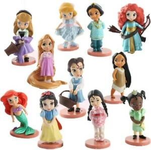 11pcs Disney Princess Figures Set Figures Toy Display Cake Topper Kids Gift 8CM