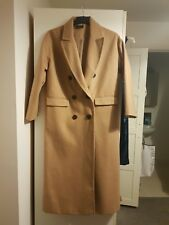 TOPSHOP Double Breasted Slouchy Long Winter Coat Jacket Camel Size 10