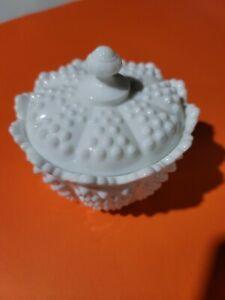 Vintage Fenton Hobnail Round Covered Candy Dish White Milk Glass