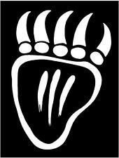 WHITE Vinyl Decal Aztec Bear Claw Paw Native American sticker Indian hunt fun