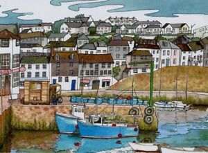 Mevagissey Harbour  Cornwall art print from Watercolour painting by Alex Pointer