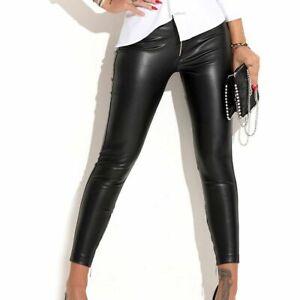By Alina MEXTON Damenhose schwarze Stoffhose Hüfthose Lederlook 34 - XS #C797