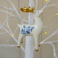 Set of 3 blue, white, gold ceramic reindeer Christmas decorations Gisela Graham