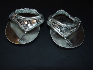 Build a Bear Clothing BABW Silver Sandals with Sequins