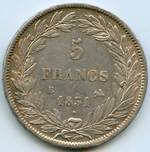 Louis-Philippe I (1830-1848) 5 Francs 1831 B Rouen Edge IN Hollow