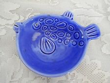Collectible Fish Shaped Blue Ceramic Teabag / Tea Bag Caddy / Holder
