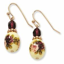 Rose Tone Dark Purple Crystal Floral Decal Dangle Earrings 1928 Boutique