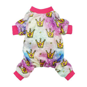 Fitwarm Pink Crown Dog Clothes Lightweight Velvet Pet Pajamas Coat Girl Jumpsuit