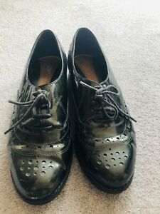 Clarks Black Leather Patent Brogues UK 7