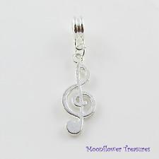Silver Plate Treble Clef Music Charm fit European Bracelet