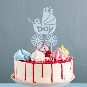 It's A Boy Pram Large Glitter Cake Topper Baby Shower Any Colour