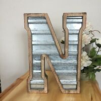 Large N WOOD & CORRUGATED METAL - Wedding Home Family - Wall INDUSTRIAL LETTER N