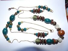 UBER LONG AUTUMNAL TEAL, GREEN & BROWN BEAD STATION & CHAIN NECKLACE 391-54