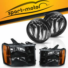 For 07-14 GMC Sierra Black/Amber Headlights Headlamps + Fog Light Assembly Set