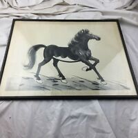 ANTIQUE CHINESE CHINA Xu Beihong  SIGNED INK WATERCOLOUR ART HORSE PAINTING