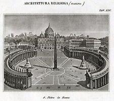 Architettura Religiosa: Basilica di San Pietro a Roma. Incisione su Rame.1866
