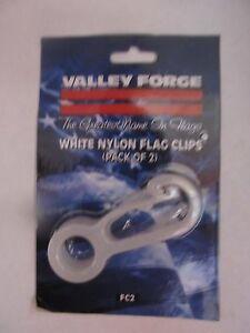 "Flagpole White Nylon Flag Clips 2 3/4"" Long #FC 2 Valley Forge Flag   NEW"