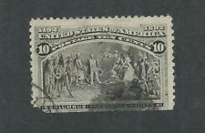 US Sc# 237 COLUMBUS 10 cent PRESENTING NATIVES USED CORK CANCEL