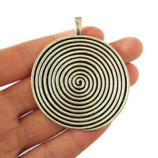 2 x Tibetan Silver Large Round Spiral Swirl Charms Pendants Jewellery Findings