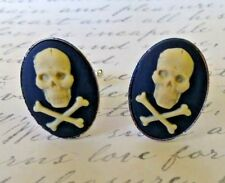 D063 Skull with Cross Bones Cameo Cuff Links Christmas Gifts Stocking Stuffer **