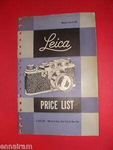 Leica Camera Price List Effective June 1, 1953 E Leitz Inc, New York