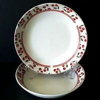 """Oneida Majesticware Cherries Jubilee 2 Soup Bowls 7.75"""" Leslie Beck More Avail"""
