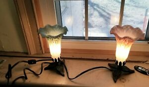 set of 2 Art Nouveau style table lamps - teal/green and pink