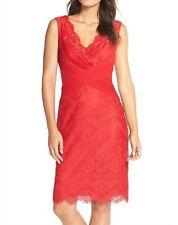 Tadashi Shoji Womens Sleeveless Floral Lace Sheath Red Dress Red Size 2