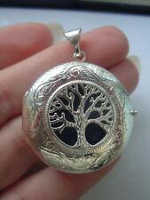 British Hallmarked Large 43mm Sterling Silver Tree Of Life Photo Locket Pendant