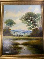 "Huge Martinelli ""Village And Landscape Scene"" Oil Painting - Signed And Framed"