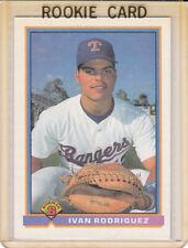 1991 Bowman Rookie Card Ivan Rodriguez Texas Rangers HOF Catcher Glove on Hand