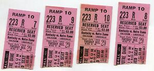(4)  Vintage 1964 Basketball Ticket Stubs Notre Dame vs Kentucky  Pat Riley HOF