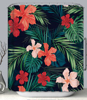"Tropical Flowers Fabric SHOWER CURTAIN 70"" w/Hooks Red Green Black Floral"
