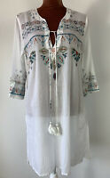 Lara Ethnics  White Cotton Beaded Tunic Throws Summer Blouse Kaftan Size L