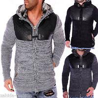 Herren Strickjacke Warme Grobstrick Winterjacke Pullover Pulli mit Wolle NEU