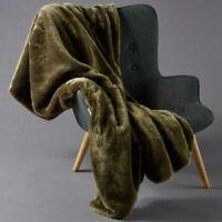 Inner Spirit Faux Throw Fur Rug Velvet Back Olive 130 x 180cm
