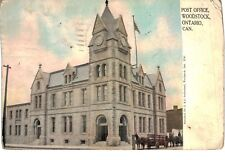 Postcard Canada Woodstock Ontario Post Office Horse and Buggy 1911