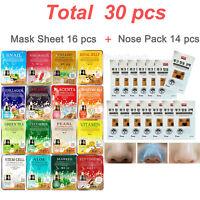 30 pcs, Face Mask Sheet & Nose Pack Set Facial Skin Care Moisture Essence MALIE