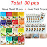 30 pcs, Face Mask Sheet & Nose Pack Set Facial Skin Care Moisture Essence MALIE