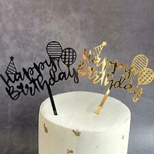 New Happy Birthday Cake Topper Glitter Calligraphy Sparkle Decoration Bling H7T9