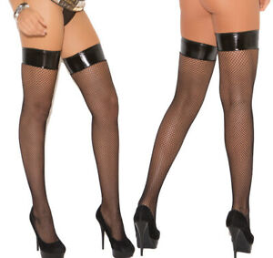 Elegant Moments Black Fishnet Stockings With Vinyl Top Hold Ups Thigh High O/S