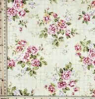 Vintage Floral 100% Cotton Quilt Fabric Gridded Flowers on Yellow Grey BTHY NOS