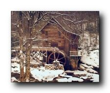 Glade Creek Mill Winter Snow Trees Scenery Wall Decor Art Print Poster (16x20)