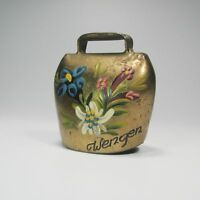 Vintage Brass Bell Hand Painted Flowers 2 Inch
