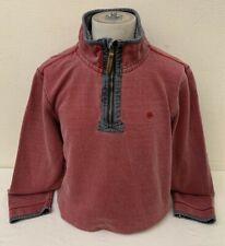 Fat Face Men's Red Cotton Long Sleeve Zip Neck Sweatshirt - Large